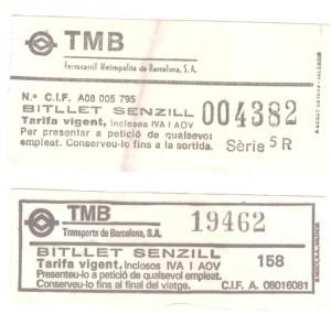 Dos bitllets de transport metropolita de Barcelona