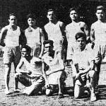 Proves atlètiques a l'Estadi de Montjuïc. A la foto F. Parramon, G. Cuesta, V. Herrando i altres directius.