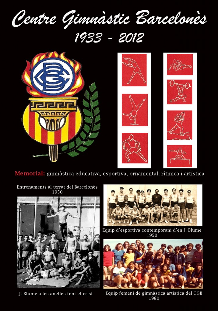 Memorial de Gimnàstica masculina i femenina del CGB de 70 anys d'història. que es celebrarà a les Sales del Casal del Barri de Folch i Torres.