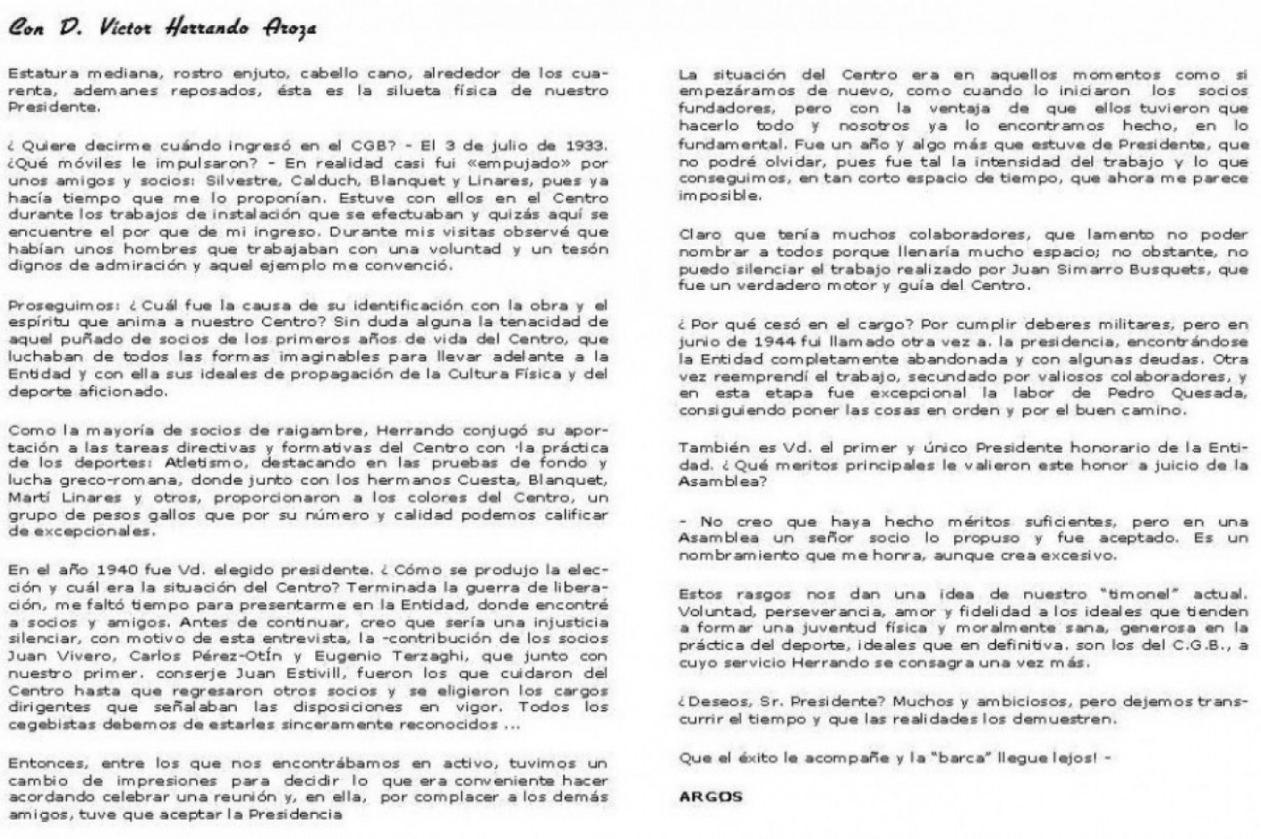 Entrevista a Víctor Herrando any 1958 - 25è Aniversari del CGB