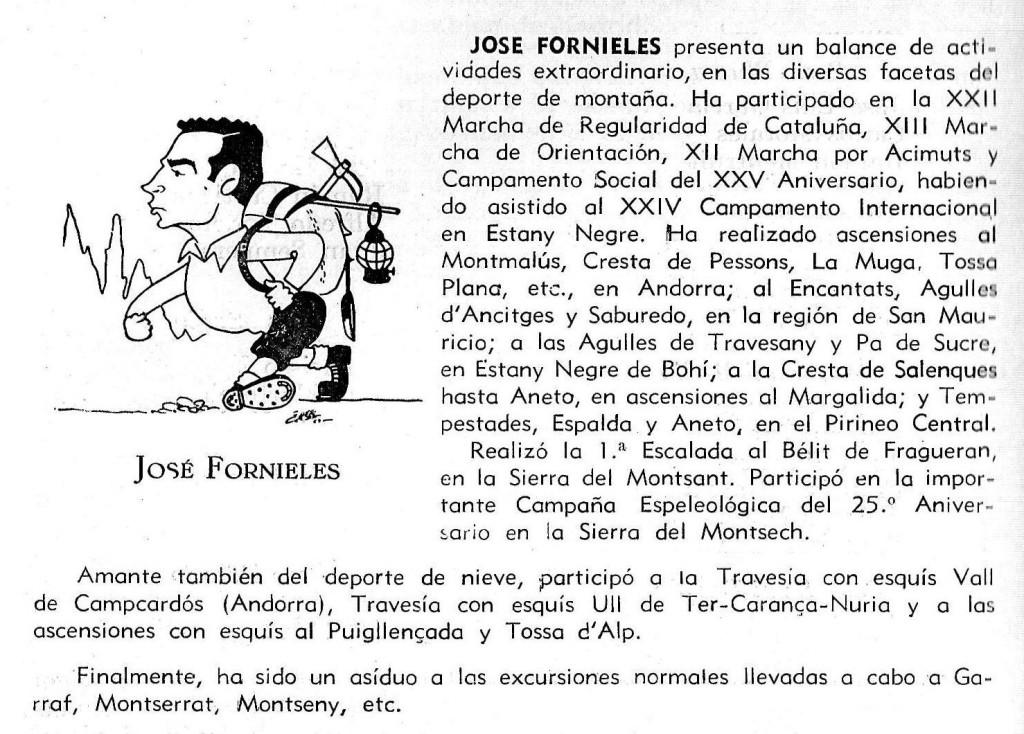 Josep Fornieles - Muntanyiste notable poseïdor de la Medalla al Mèrit Esportiu del CGB