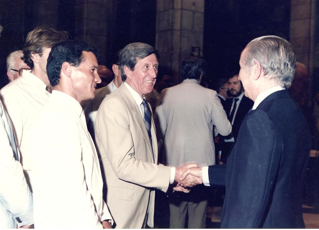 Recepció d'en Joan Antoni Samaranch a Guillem Ros i al marxador català Jordi Llopart, 1er. medalla d'argent espanyol als Jocs Olimpics de Moscow de 1980.