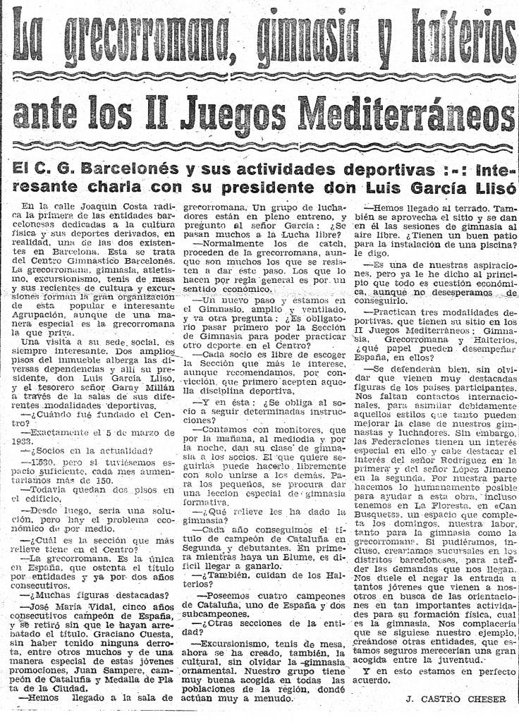 Article de l'any 1955 sobre el Centre Gimnàstic Barcelonès i la proximitat dels II Jocs del Mediterrani.
