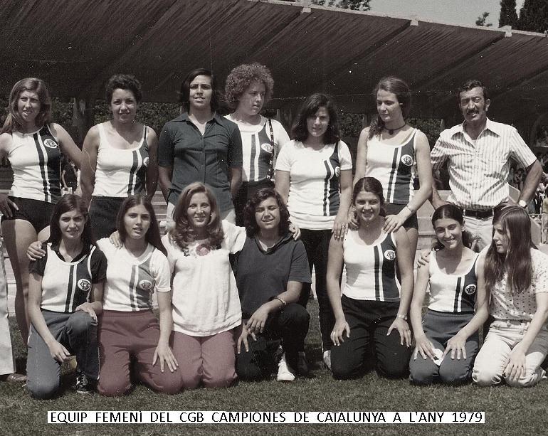 Equip femení d'atletisme del CGB que va tornar a esser campió de Catalunya d'atletisme a l'Any 1979.