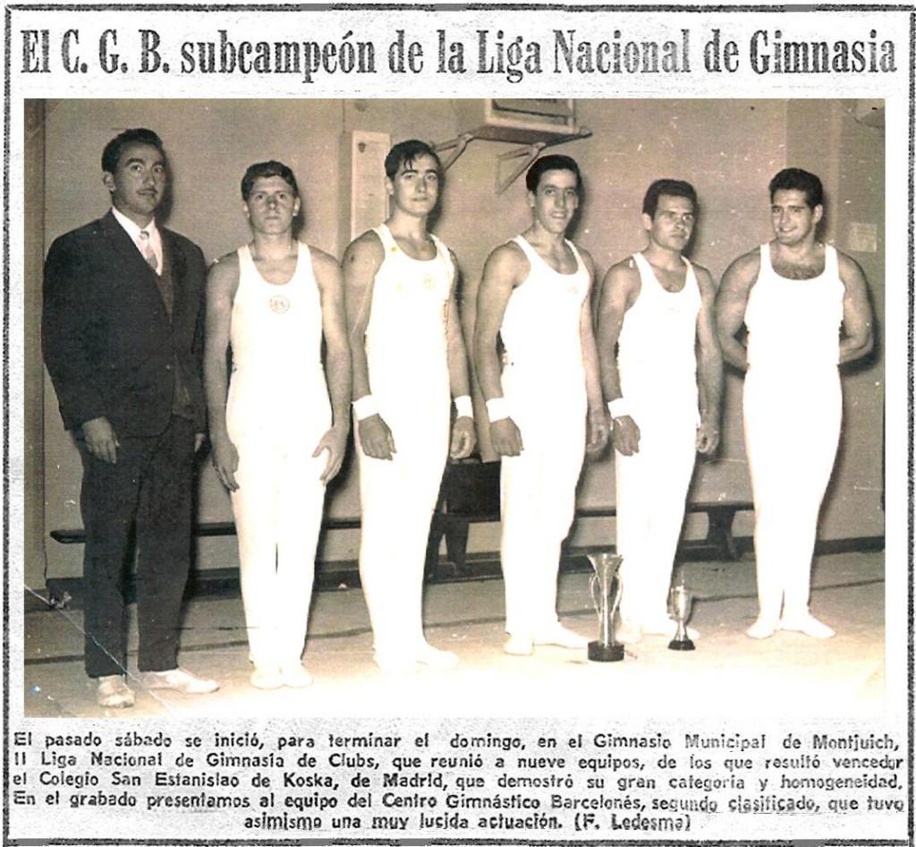 Equip de gimnàstica esportiva del CGB - Sub-Campió de la Lliga de Gimnàstica per Clubs al 1966, celebrat al Gimnàs Municipal de Montjuïc a Barcelona.