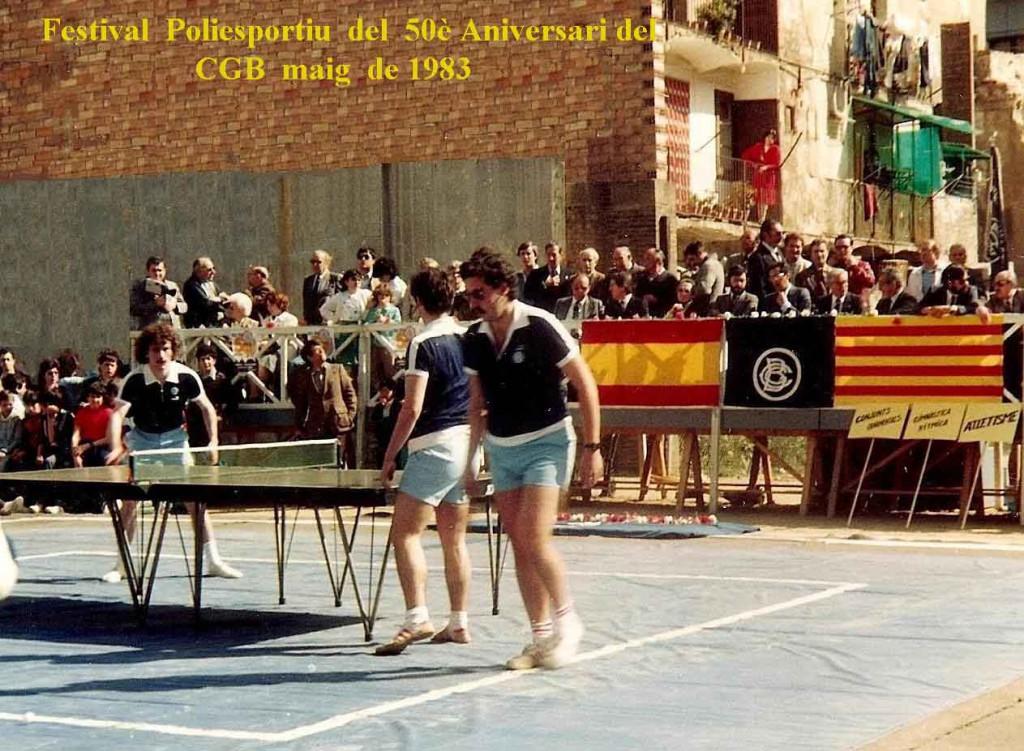 Participació de la Secció de Tennis taula al Festival Poliesportiu del CGB, en ocasió del seu 50è Aniversari, en presència del Delegat Nacional d'Esports de l'època: en Romà Cuyàs.