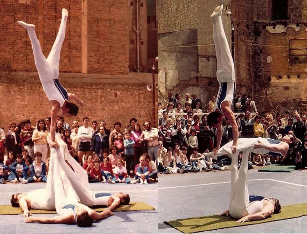 Festival del 50è Aniversari del CGB a l'any 1983. El conjunt d'ornamental del Centre en un moment de la seva exhibició de Gimnàstica. Components: Miquel Navarro, Manel Carreño, Josep Suari i Joan Espinosa.