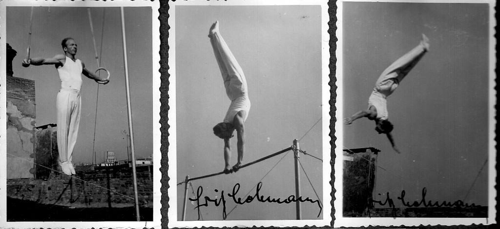 Un cop més en Fritz Lehmann, entrenador de la Federació Catalana de Gimnàstica artística efectuant un Crist a les anelles i exercicis de gimnàstica artística a la Terrassa de les instal·lacions del Barcelonès, any 1954, coincidint amb els Campionats socials d l'Entitat.