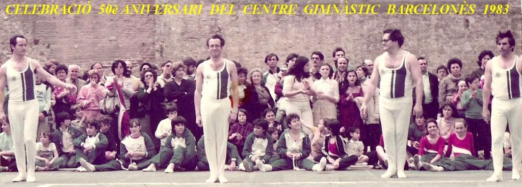 A la foto de dalt trobem als gimnastes: Josep Suari, Miquel Navarro, Manel Collado i Joan Espinosa. que han conservat viva i en acció, la secció de gimnàstica Ornamental del CGB des de l'any 1960 fins més enllà del tancament del Centre al 2004.