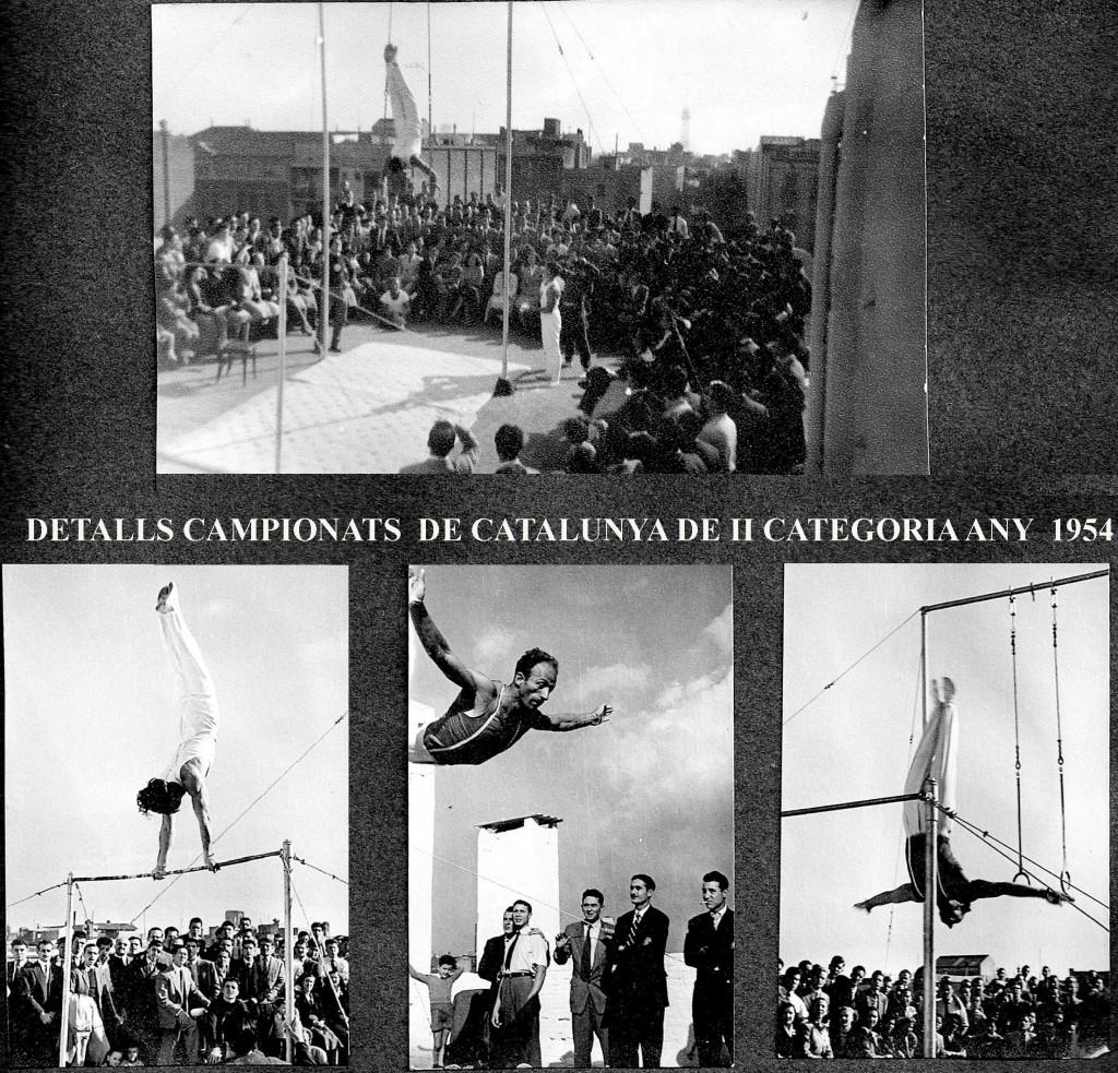 Instantànies de la competició de Gimnàstica esportiva organitzada a la terrassa del Centre Gimnàstic Barcelonès. El gimnasta de les anelles és en Joaquim Blume, a la Barra fitxa en Jordi Elias i també en Fritz Lehmann amb una sortida de Barra espectacular.