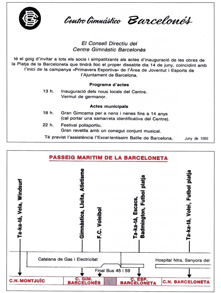 Inauguració de nous locals del CGB a la Platge de la Barceloneta amb un programa d'actes molt ampli amb la assistència prevista del Batlle de Barcelona Pasqual Maragall, 14 de juny de 1986