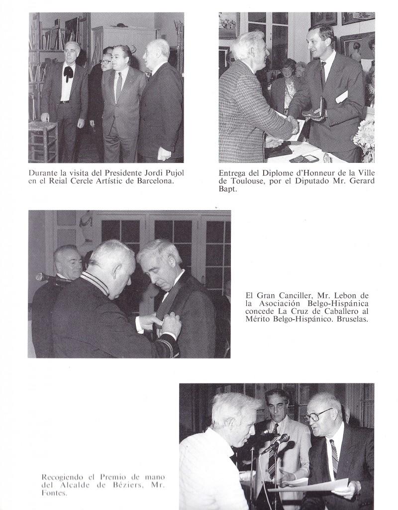 Instàntànies de l'historial d'en Oliver Ribalta recollint diferents distincions en reconeixement dels seus mèrits artístics, en presència de les personalitats franceses i President Jordi Pujol.