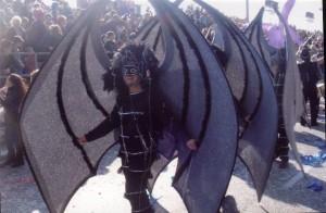 Companyes desfilant a la rua de Niça 2008 i en el fons les grades amb el públic aplaudint amb atmiració. blic.