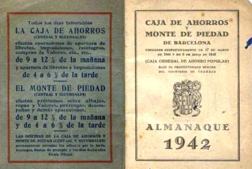 allmanac de caja de ahorros y monte de piedad, 1942