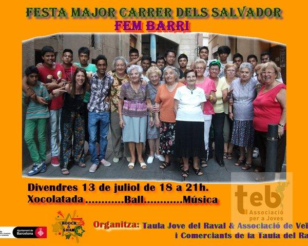 Cartell de la Festa Major al carrer dels Salvador