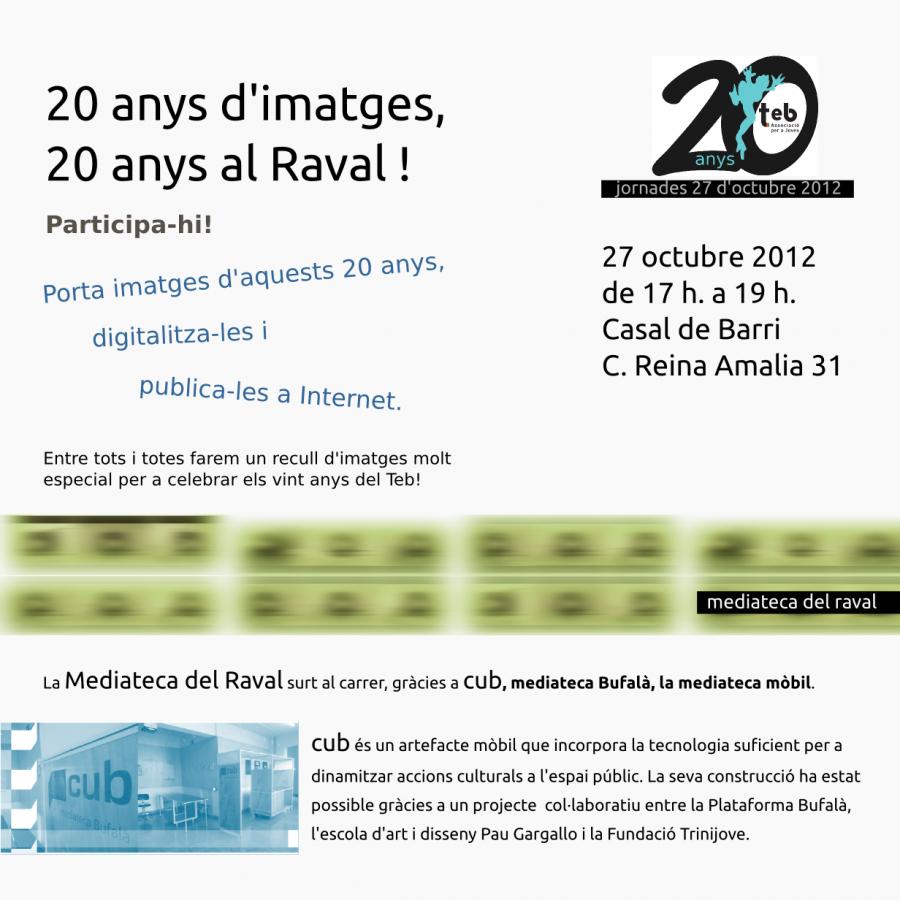 Cartell de la participació de la mediateca amb els 20 anys del Teb