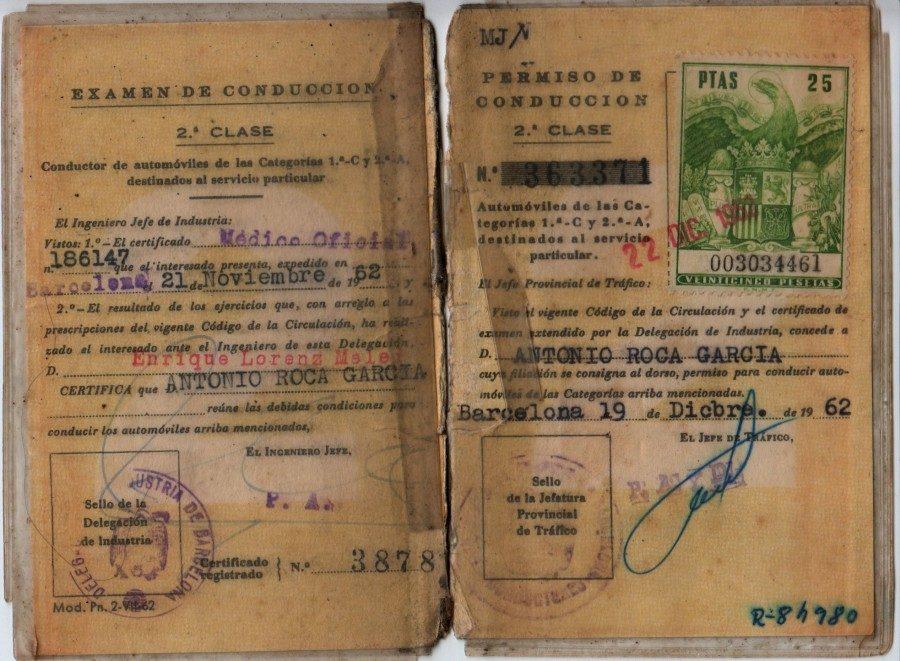 permiso de conducir, 2ª clase, 1962 , sello oficial, timbre oficial de trafico,