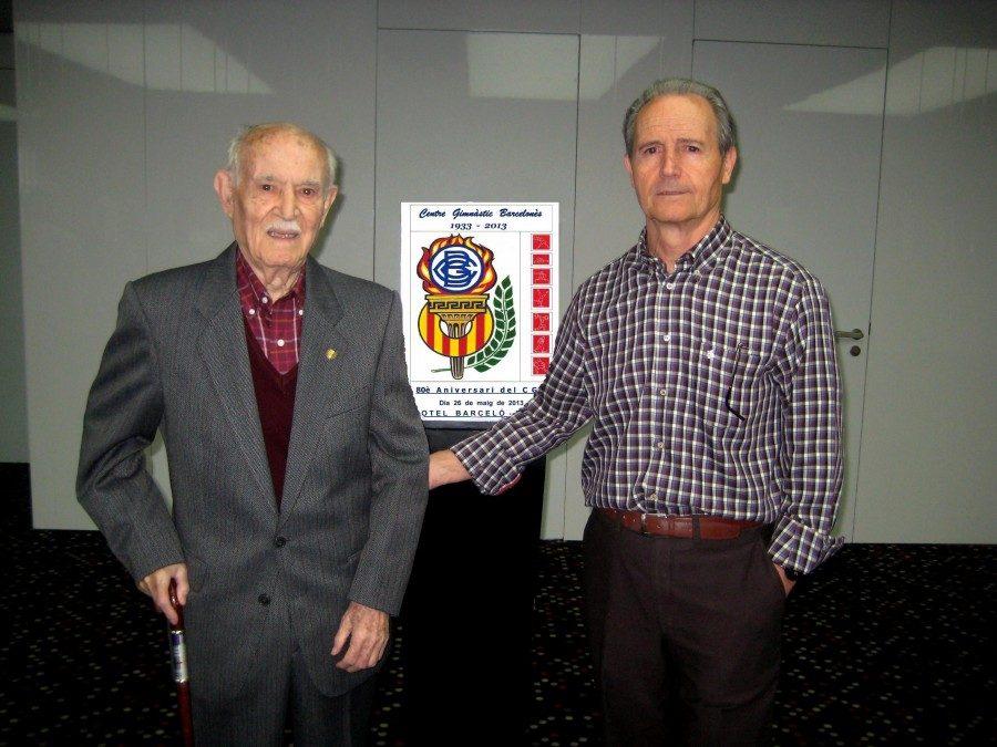 Víctor Herrando i Joan Espinosa participant al 80è Aniversari del CGB al Hotel Barceló Sants.
